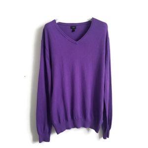J. CREW sweater v neck cashmere cotton purple sz M